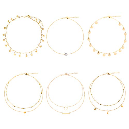 ONESING 6 Pcs Gold Layering Chain Choker Necklace Adjustable Layered Choker Necklaces With Moon Star Pendant