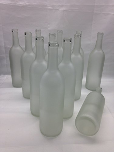 12 - Frosted Bordeaux Flat Bottom Glass Bottles 750ml for Bottle Trees, Crafting, Parties,Wedding Center Piece , Decor , Home Brew , Beer, Wine