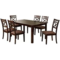 Furniture of America 7-Piece Hudson Rectangular Dining Table and Chair Set, Espresso