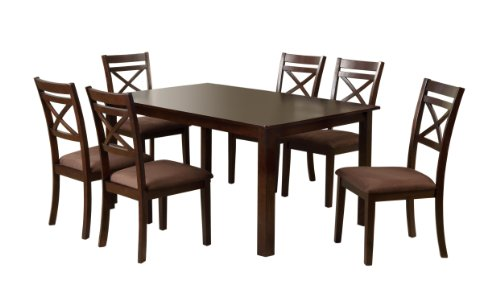 - Furniture of America 7-Piece Hudson Rectangular Dining Table and Chair Set, Espresso