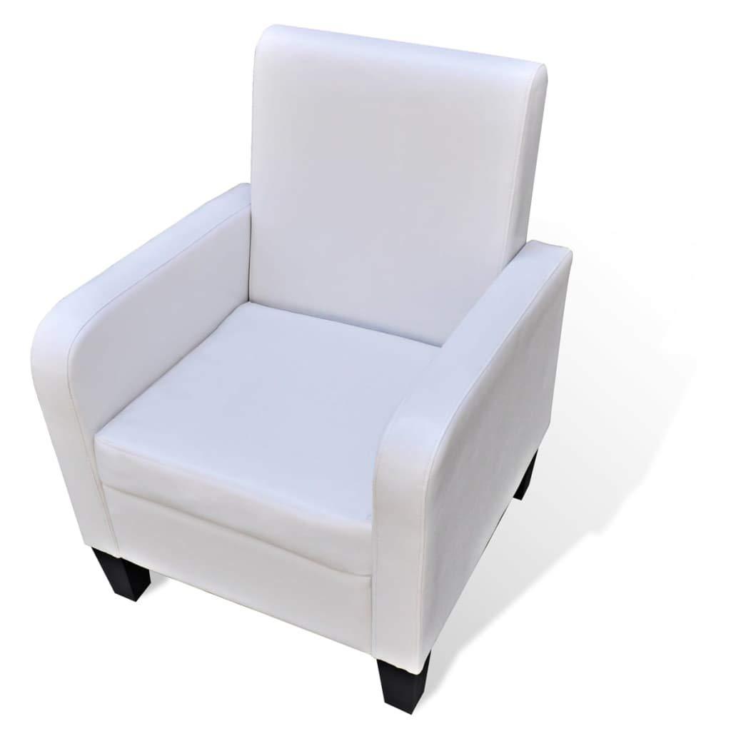 Xingshuoonline Sessel aus Kunstleder, Weiß, Stuhlhöhe  44 cm
