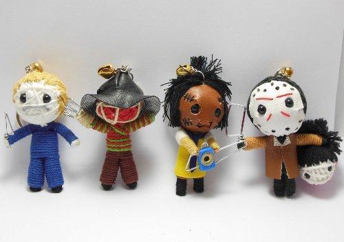 Slasher Horror Set of 4 x Voodoo String Doll Keychain Keyring Ornament Charms