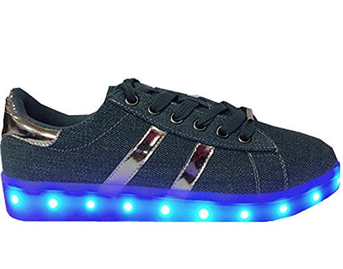Link Donna Led Luci Denim Denim Fiore Ricamato Scarpe Sneakers Basse Lt.blue-67