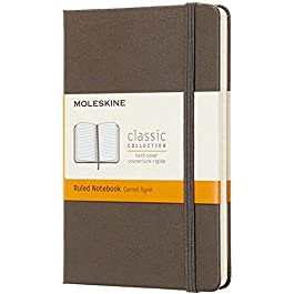 Moleskine Classic Notebook, Hard Cover, Pocket (3.5″ x 5.5″) Ruled/Lined, Earth Brown, 192 Pages