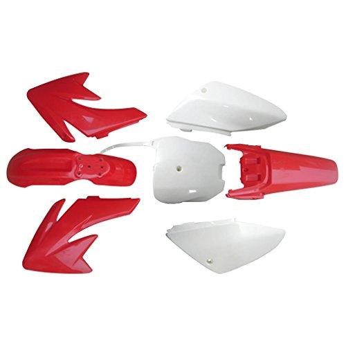 (JCMOTO New 4 Red 3 White CRF70 Fender Plastic for Honda)