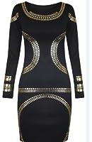 AxTokyo Womens Ladies Bodycon Black Beyonce Top Gold Foil Printed Full Sleeves Dress