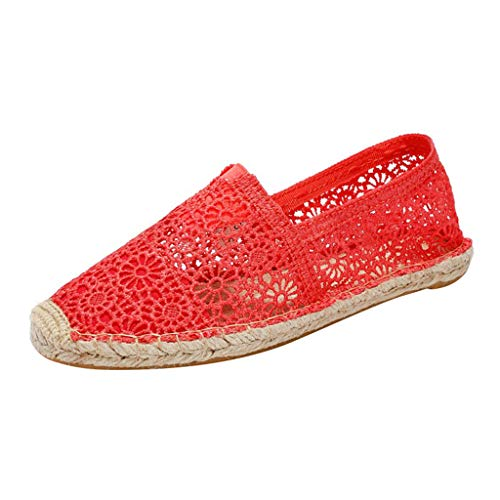 Women Slip On Loafers Flats Cutout Flowers Lace Ballet Flats Summer Fashion Breathable Walking Hemp Shoes by Lowprofile Red