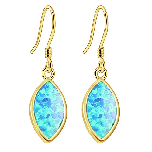 Earrings Marquise Gold Plated - Sinlifu 14K Gold Plated Simulated Blue Opal Marquise Dangle Drop Earring (blue+plating gold)