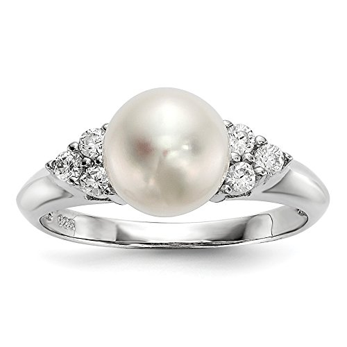 925 Sterling Silver Rh 9mm White Button Freshwater Cultured Pearl Cubic Zirconia Cz Band Ring Size 8.00 Fine Jewelry Gifts For Women For Her ()