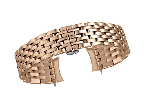 20mm Premium Curved End 7-Link Bracelet Wristband for Men's Sport Watches in Rose Gold Semi-Matte Polish