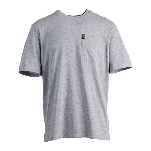 Browning Buckmark Men's Short Sleeve Pocket T Shirt, Large, Heather Graphite from Browning