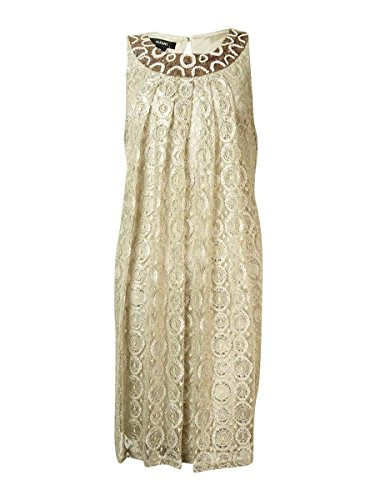 Sequined Halter Lace Natural Alfani Women's Beaded Dress qFROaEax