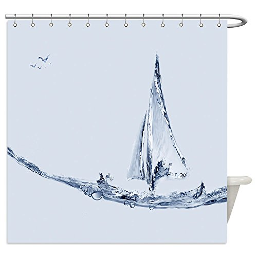 Vanfan Shower Curtains a blue water boat made of water sailing with a jumping fish 406051708 For (Costume Made Curtains)