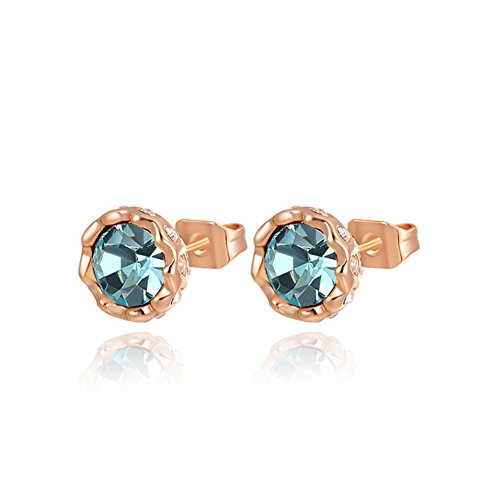 ROXI Women's Rose Gold Multicolour Crystals Small CircleStud Earrings (Blue) (14k Gold Flower Band Ring)