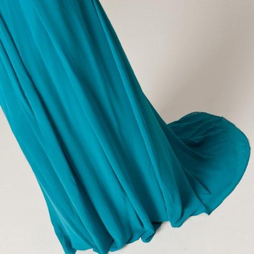 Traegerlos Reissverschluss Aermellos Dearta Blau Abendkleider Schleppe Pinsel Empire Chiffon Damen Kleidungen twtnqSUT