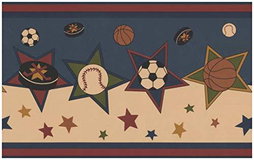 Wallpaper Border - Soccer Ball Basketball Puck Baseball Stars Sports Wall Border Retro Design, Prepasted Roll 15 ft. x 7 in. ()