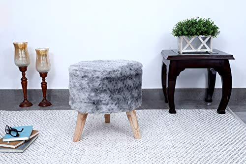 Fernish Décor Faux Fur Round Ottoman Barstool, 3 Wooden Icecream Cone Shaped Legs, 16x16x16 INCH, Bedroom Living Room Accent seat (Light Grey)