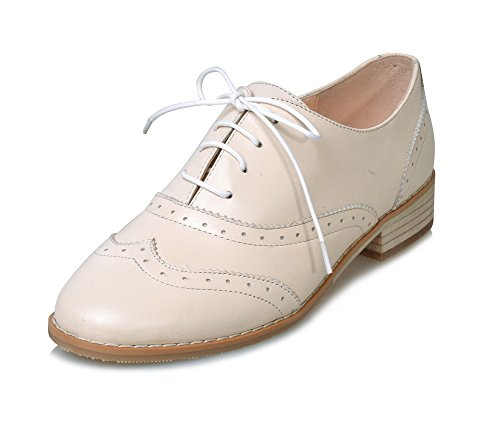 AdeeSu Womens Lace-Up Round-Toe Spectator Pleather Pumps Shoes SDC04155 Beige zP9j1