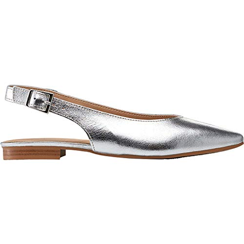 Metallic Slingback Silver - Ellos Women's Plus Size Slingback Flats - Silver Metallic, 8 M