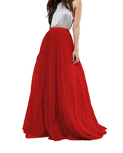 Women Wedding Long Tulle Skirt Dress Bridal Bridesmaids Floor Length High Waisted Maxi Tutu Party Dress (Red, Plus Size)