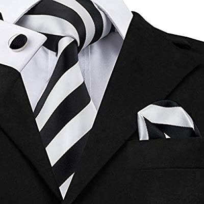 AK Hombres S Tie Sn-276 Blanco Negro Conjunto de corbata de seda ...