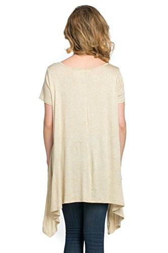 Frumos Womens Tunic Short Sleeve Top T Shirts T Shirts IT-Oatmeal X-Large Photo #3