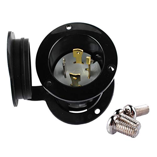 Podoy 2715 NEMA L14-30 Flanged Inlet Generator Plug Waterproof Cover L1430P 30A 125/250 Volt with Locking Receptacle Socket Black Industrial Grade Grounding Welding Use 7500 Watts ()