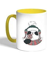 كوب سيراميك للقهوة، لون اصفر، بتصميم رسوم كرتونية - دب الباندة