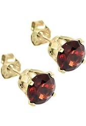 1.30 Ct Round Cut Red Natural Garnet 14K Yellow Gold Women's Stud Earrings