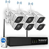 [Newest]Security Camera System Wireless, Firstrend 8CH 1080P Wireless Surveillance NVR System and Easy Remote Home Monitoring Systems with 6pcs 1MP Video Home Security Cameras 1TB Hard Drive Installed For Sale