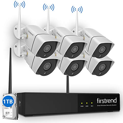 [Newest]Security Camera System Wireless, Firstrend 8CH 1080P Wireless Surveillance NVR System and Easy Remote Home Monitoring Systems with 6pcs 1MP Video Home Security Cameras 1TB Hard Drive Installed ()