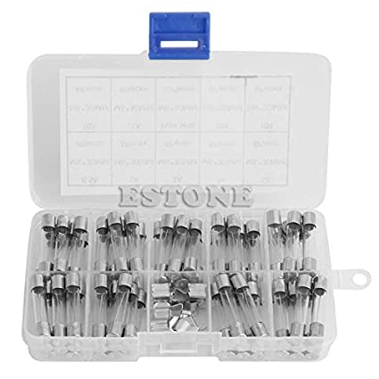 72pcs 250V 6x30mm 0.5A-30A Glass Tube Fuses Assorted Kit with Fuse Holder Hot