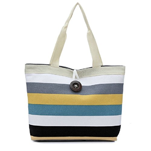 TIFENNY Fashion Women Canvas Colored Stripe Shopping Handbag Shoulder Bag(Khaki)