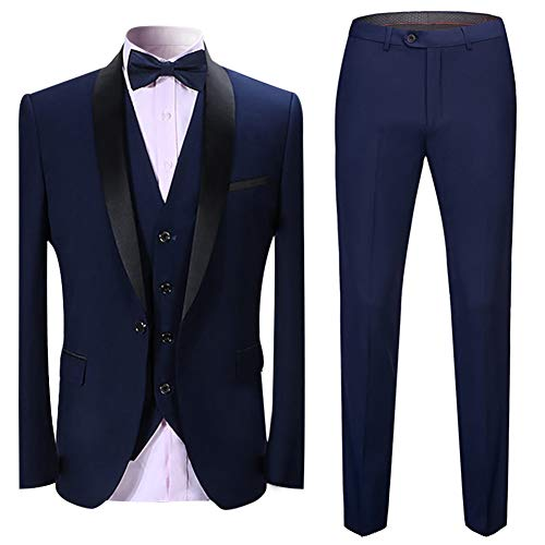Boyland Men's 3 Pieces Suit Shawl Lapel Tuxedo Suits Shawl Lapel One Button Tux Jacket Vest Trousers Dinner Wedding - Tuxedos Tall Big