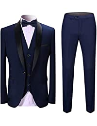 50f81fd7fb Men's 3 Pieces Suit Shawl Lapel Tuxedo Suits Shawl Lapel One Button Tux  Jacket Vest Trousers