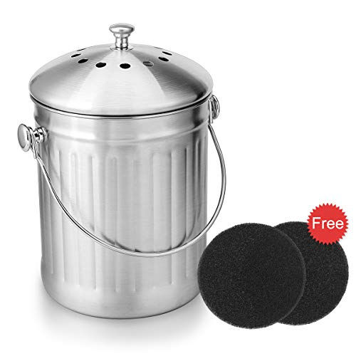 Odor Free Compost Bucket - ENLOY Compost Bin, Stainless Steel Indoor Compost Bucket for Kitchen Countertop Odorless Compost Pail for Kitchen Food Waste with Carrying Handle and 2 Charcoal Filter 1.3 Gallon Easy to Clean
