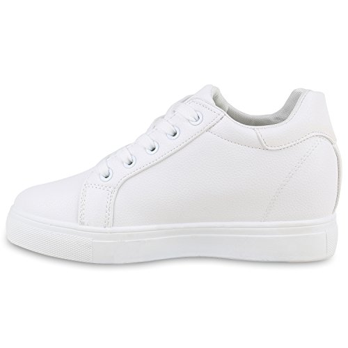 Stiefelparadies Damen Sneakers Glitzer Metallic Sneaker Wedges Slip Ons Zipper Prints Lack Schnürer Turnschuhe Keilabsatz Schuhe Leder-Optik Flandell Weiß