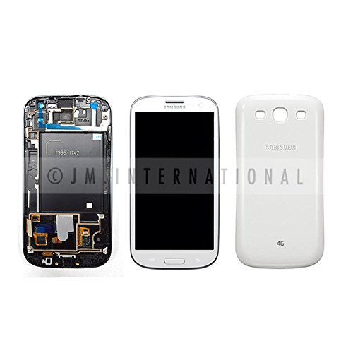 - ePartSolution-Samsung Galaxy S3 i747 T999 LCD Touch Digitizer Screen Assembly + Back Cover With Frame White Replacement Part USA Seller