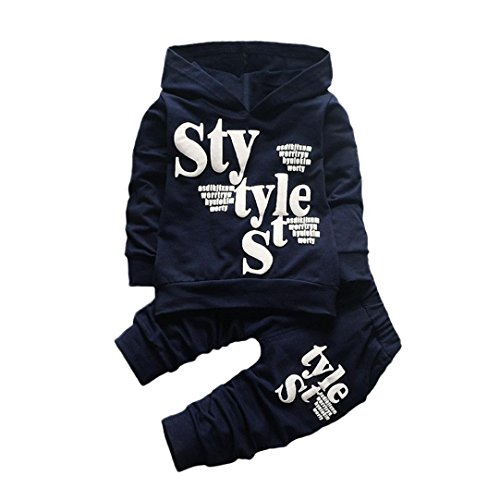 Boy Clothes Set for 1-5 Years Old,Toddler Baby Boys Kid Letter Print Hood Long Sleeve Tops Pattern Pants Outfits (3-4 Years Old, Navy) ()