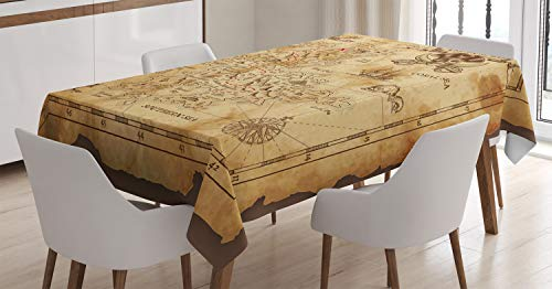 Ambesonne Island Map Decor Tablecloth, Super Detailed Treasure Map Grungy Rustic Pirates Gold Secret Sea History Theme, Rectangular Table Cover for Dining Room Kitchen, 60x90 inch, Beige Brown ()