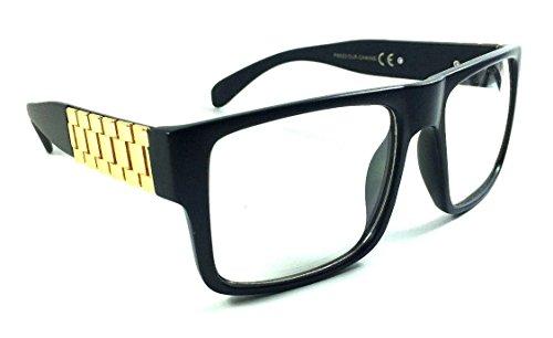 Metal Links Watch Band Square Hip Hop Sunglasses (Matte Black & Gold Frame, - Old Glasses School Hip Hop