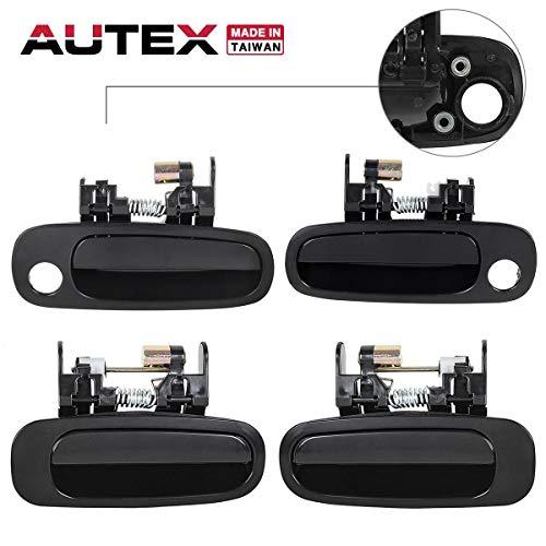 AUTEX 4pcs Exterior Door Handles Front Rear Left Right Black compatible with 1998 1999 2000 2001 2002 Toyota Corolla Door Handles 80422 77431 80421 77426 80423 77563 80424 77567