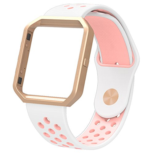 Simpeak Replacement Band for Fitbit Blaze,Soft Silicone Sport Strap Wristband with Metal Frame for Fitbit Blaze Smart Fitness Watch,White+Pink. Small