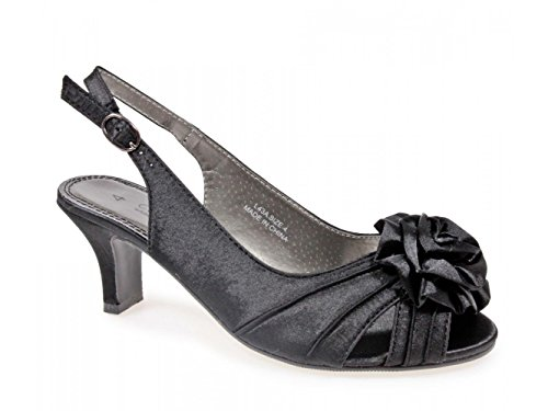Comfort Plus Enya Ladies Wide E Fit Slingback Satin Shoes Black Black YQgQu5T