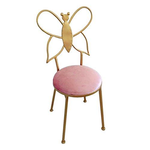 TY Furniture Iron Bow Tie Chair, Backrest Chair Dresser Makeup Chair Golden Chair Frame Single Dressing Chair Simple Dining Chair Bar Chair Home Girl Room Decoration Chair 32x30x80cm BEI -