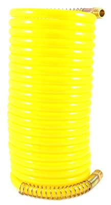 Forney 75425 Recoil Air Hose, Yellow Nylon with 3/8-Inch Male NPT Fittings, 1 Swivel End, 3/8-Inch-by-25-Feet, 300 PSI