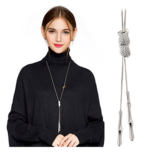 Wowanoo Elegant Crystal Necklace Tassel Pendant Jewelry Long Sweater Chain Necklace for Women Girl Silver Crystal Long Necklace