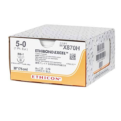 Ethicon ETHIBOND EXCEL Polyester Suture, X870H, Synthetic Non-absorbable, RB-1 (17 mm), 1/2 Circle Needle, Size 5-0, 30