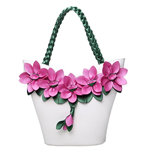 Satchel Leather Bags Girls Flower KAXIDY Ladies Bag White Handbag Flower Messenger Handbags Shoulder PU Shoulder w7tH85Hxvn