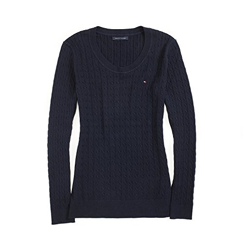 Tommy Hilfiger Womens Cable Knit Cotton Logo Sweater, Navy (Medium)